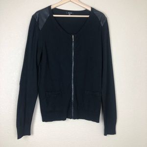 Premise zippered cardigan with faux leather